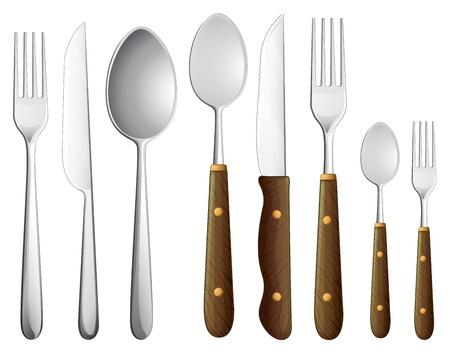 cubiertos de plata: Ilustración de una cuchara fijada en un fondo blanco