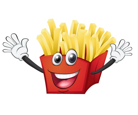 fry: illustration of a french fries on a white background Illustration