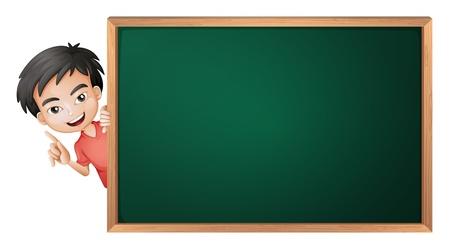 peeping: ilustraci�n de un ni�o y una placa verde sobre un fondo blanco