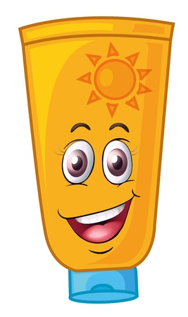 cream tube: illustration of a bottle with face on a white background