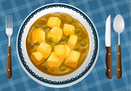 paneer: illustration of a food and a dish on a blue background