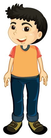 full pant: illustration of a boy on a white background