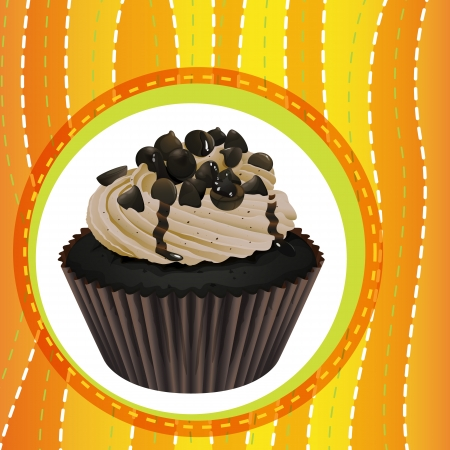 illustration: Illustration of an isolated cupcake and a wallpaper Illustration