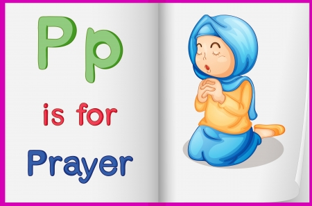 pray for: Illustration of the letter P in a book
