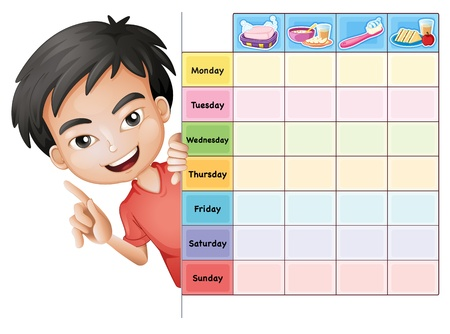 school schedule: illustration of a boy and a table on a white background