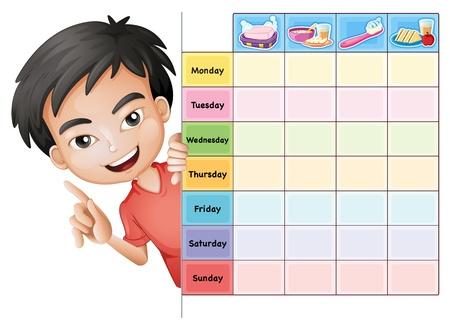 timetable: illustrazione di un ragazzo e una tabella su uno sfondo bianco Vettoriali