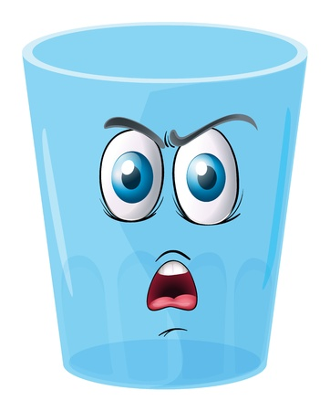 illustration of a glass with face on a white background Vector