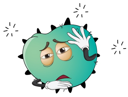 bacteria cell: illustration of a monster face on a white background