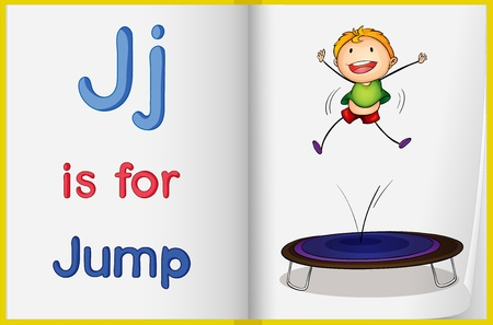 phonics: Illustration of the letter J in a book