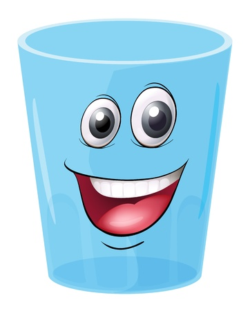 reflectie water: illustratie van een glas met gezicht op een witte achtergrond Stock Illustratie