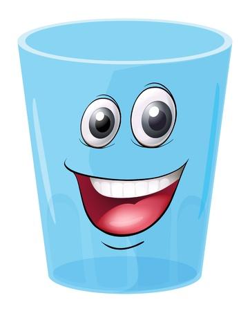 glass eye: Ilustraci�n de un vidrio con la cara en un fondo blanco