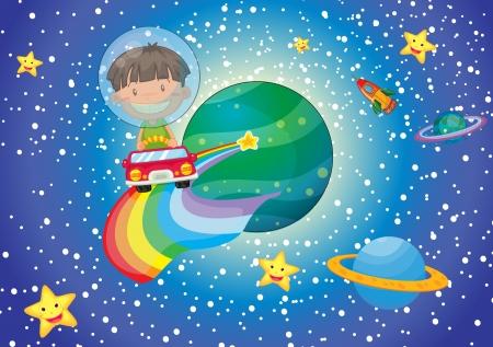 ilustración de un niño y un coche en el universo