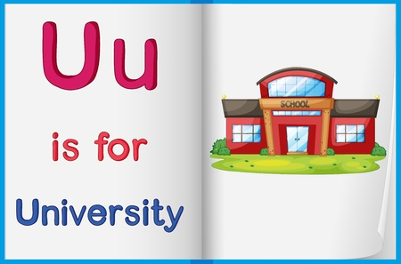 letters clipart: Illustration of the letter U in a book
