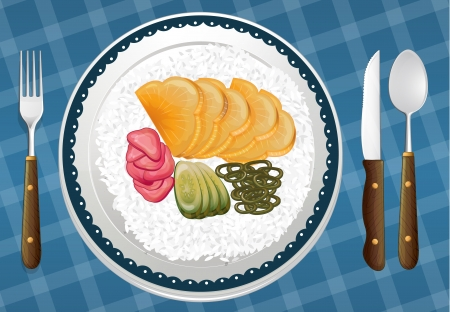 garnishing: illustration of a food and a dish on a blue background