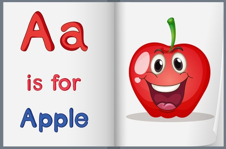 phonics: Illustration of the letter A in a book Illustration