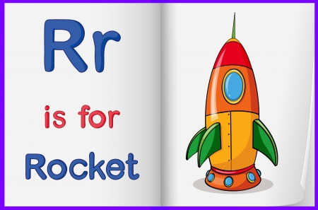 Illustration of the letter R in a book Vector