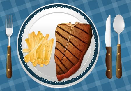 steak plate: illustration of a Steak and fries on a blue placemat Illustration