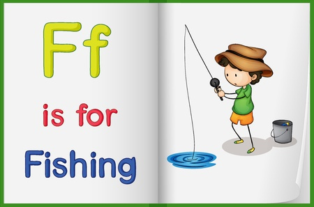 learn english: Illustration of the letter F in a book