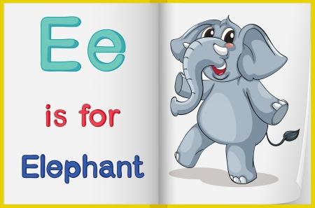 alfabeto con animales: Ilustraci�n de la letra E en un libro Vectores