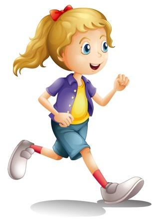 niño corriendo: ilustración de una chica sobre un fondo blanco