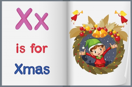 Illustration of the letter X in a book Vector