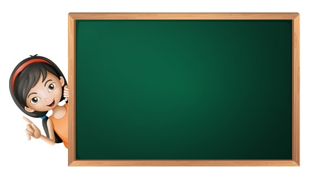 peeping: ilustraci�n de una chica y un tablero verde sobre un fondo blanco