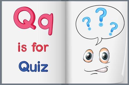 kwis: Illustratie van de letter Q in een boek