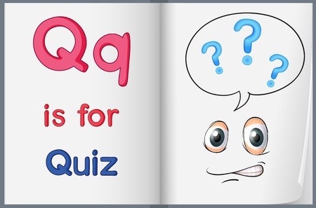 phonics: Illustration of the letter Q in a book Illustration