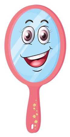 oeil dessin: illustration d'un miroir avec le visage sur un fond blanc Illustration