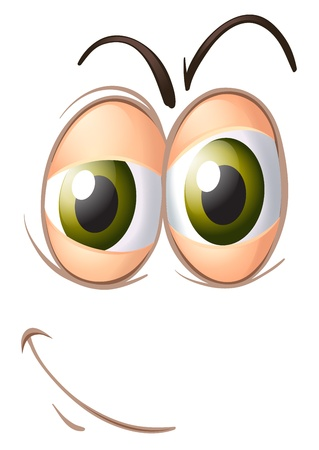 cartoon eyes: illustration of a face on a white background Illustration
