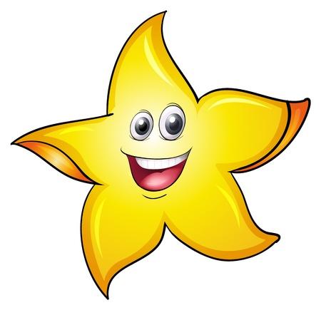 estrella caricatura: Ilustración de una cara en un fondo blanco