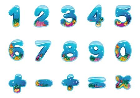 illustration de chiffres et de signes sur un fond blanc