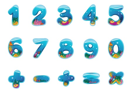 one colour: illustration of numbers and signs on a white background