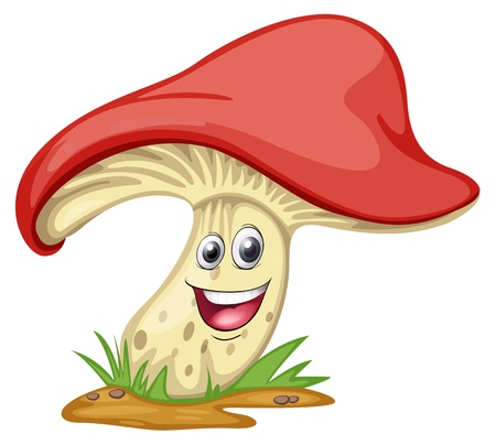 illustration of a mushroom with face on a white background Vector