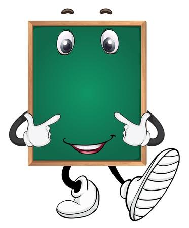 escuela caricatura: ilustraci?e una placa verde sobre un fondo blanco Vectores