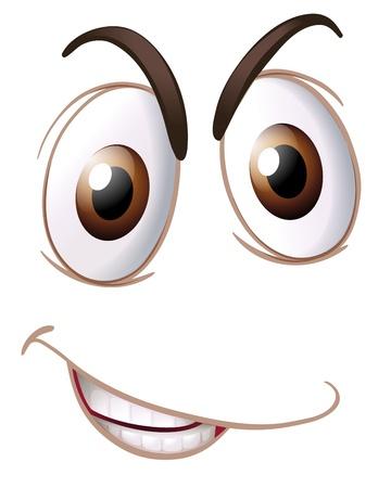 ojos caricatura: Ilustración de una cara en un fondo blanco