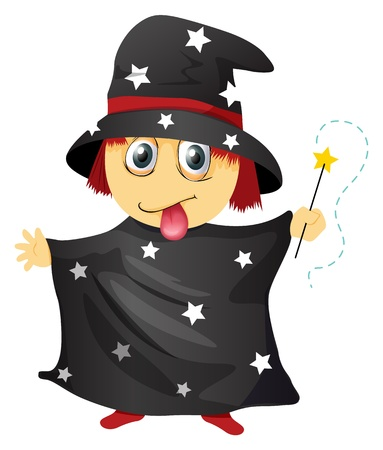 naughty child: illustration of a wizard on a white background Illustration