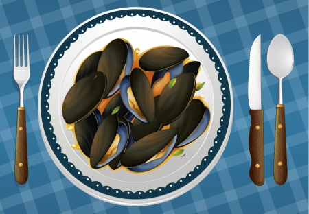 grilled vegetables: illustration of food and a dish on a blue background