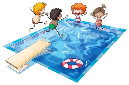 niños nadando: ilustración de los niños y una piscina en un fondo blanco
