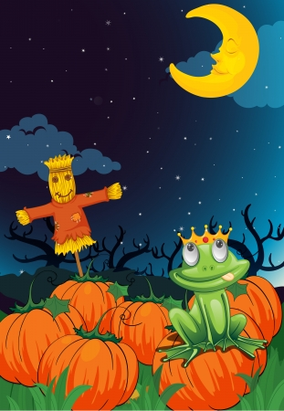 illustration of a scarecrow and frog in a dark night Vector