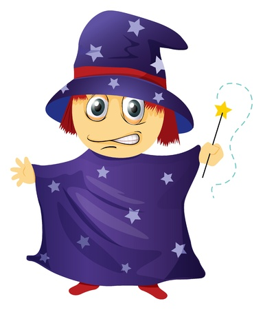 illustration of a wizard on a white background Vector