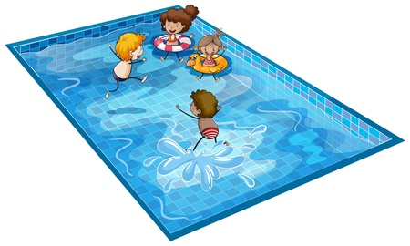 swimming pool woman: illustration of kids on a white background Illustration