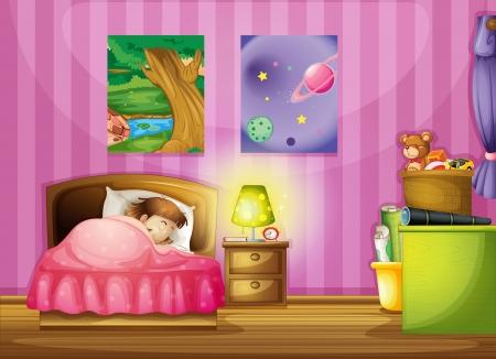 chambre � coucher: illustration d'une fille et une belle chambre