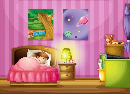 sleeping at desk: illustration of a girl and a beautiful bedroom