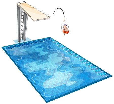 ni�os nadando: ilustraci�n de un ni�o y el tanque de nataci�n en un fondo blanco