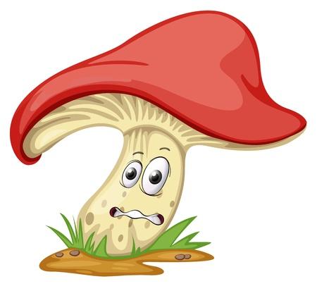 ilustración de un hongo con la cara sobre un fondo blanco