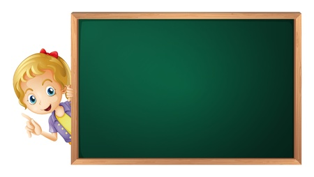 peeping: illustration of a girl and a green board on a white background