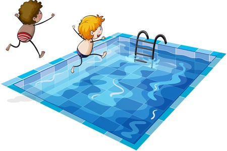 kids swimming: illustration of kids on a white background Illustration