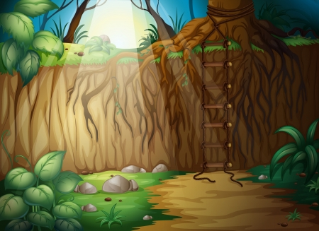 illustration of a forest in a beautiful nature Vector