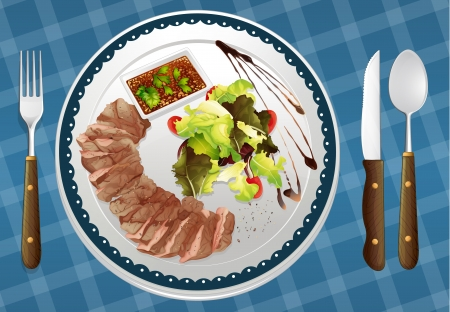 garnishing: illustration of food and a dish on a blue background